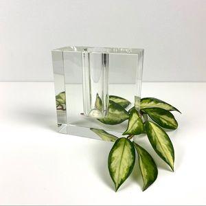 Vintage Modernist Glass Block Bud Vase